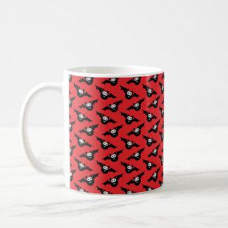 Halloween Mug, Halloween Bats, Red and Black Coffee Mug
