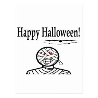 Halloween Mummy And Bats Postcard