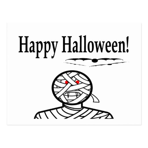 Halloween Mummy And Bats Post Cards