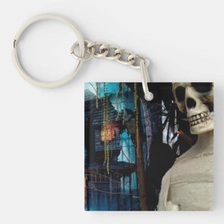 Halloween Mummy and Spooky House Single-Sided Square Acrylic Key Ring