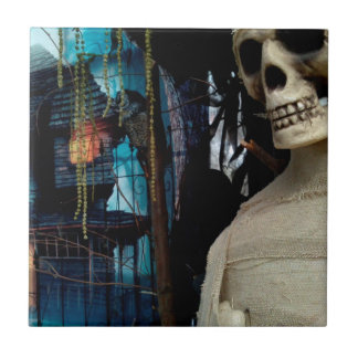 Halloween Mummy and Spooky House Small Square Tile