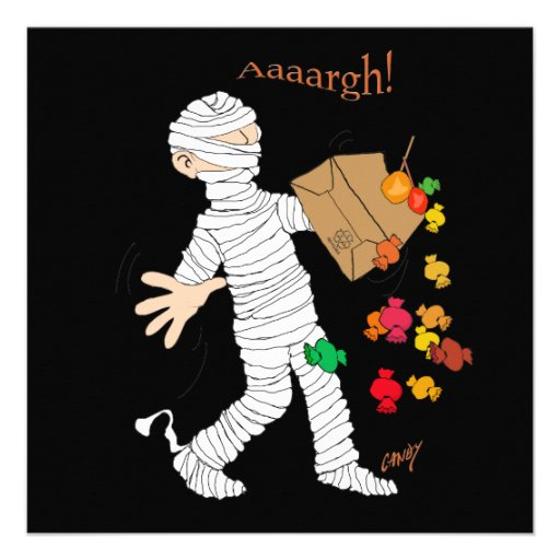 Halloween mummy  costume with candy bag. announcement