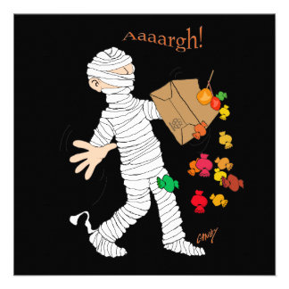 Halloween mummy costume with candy bag announcement