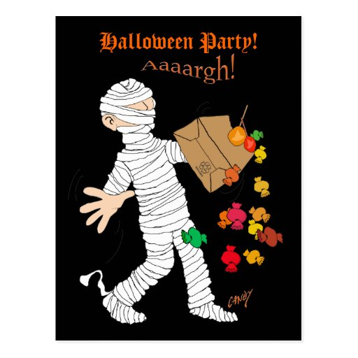 Halloween mummy  costume with candy bag. post card