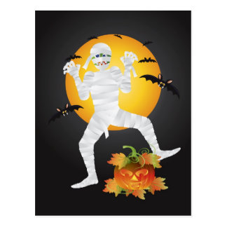 Halloween Mummy with Carved Pumpkin Postcard
