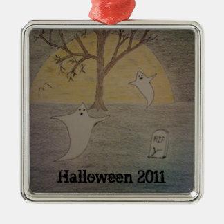 Halloween Night 2011 Silver-Colored Square Decoration