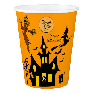 Halloween Night Ghost Haunted House Witch Bats Cat Paper Cup