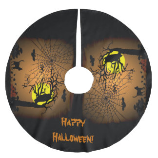 Halloween Night , Happy Halloween! Brushed Polyester Tree Skirt