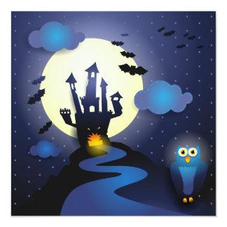 "Halloween Night, invitation 5.25"" Square Invitation Card"