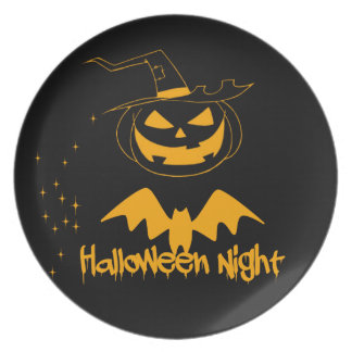 Halloween night party plates
