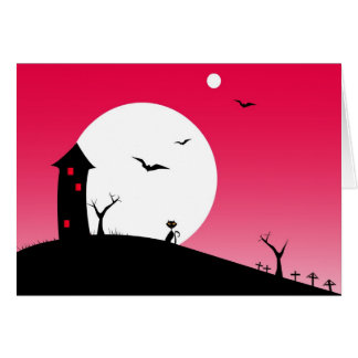 Halloween night red greeting card