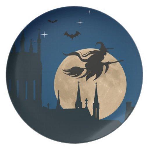 Halloween Night Scene Dinner Plates