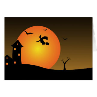 Halloween night witch greeting card