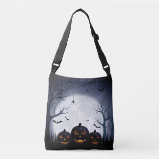 Halloween Night with Pumpkin & flying Bats Tote
