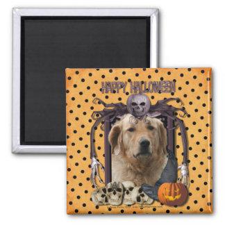 Halloween Nightmare - Golden Retriever - Mickey Square Magnet