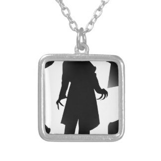 halloween nosferatu silver plated necklace