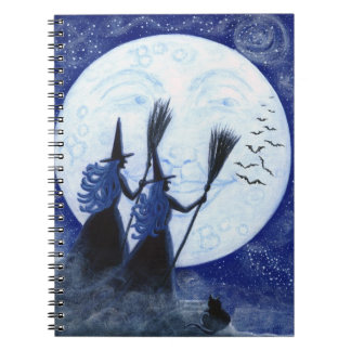 Halloween notebook, man in the moon,witches notebook