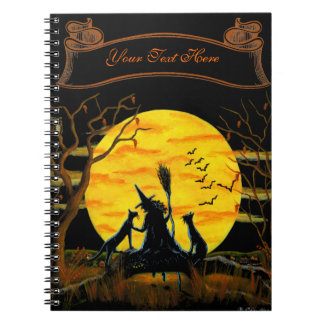 Halloween notebook, witch and black cats spiral notebook
