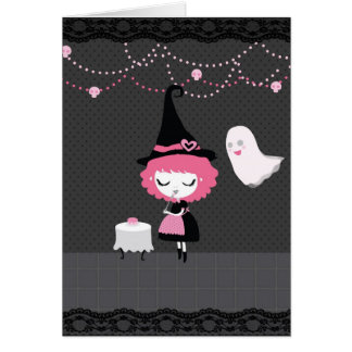 Halloween (or Birthday) Pink Cute Witch card