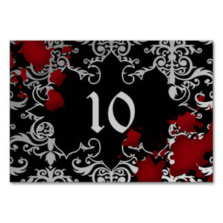 Halloween or vampire theme wedding table number table cards