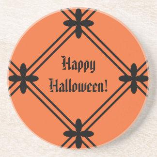 Halloween Orange and Black Pattern Drink Coasters