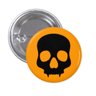 Halloween orange and black scary fanged skull 3 cm round badge