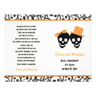 Halloween orange and black skull wedding program 21.5 cm x 28 cm flyer