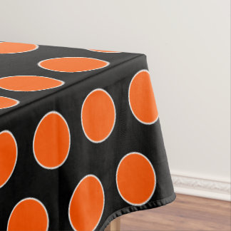 Halloween Orange and White Dots on Black Tablecloth