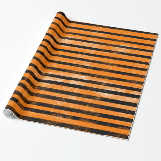 Halloween Orange Black Grunge Texture Stripes Wrapping Paper