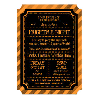 Halloween Orange & Black Spooky Frightful Night 13 Cm X 18 Cm Invitation Card