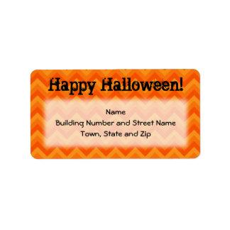 Halloween Orange Chevron Pattern Address Label