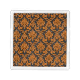 Halloween Orange Damask Chalkboard Pattern