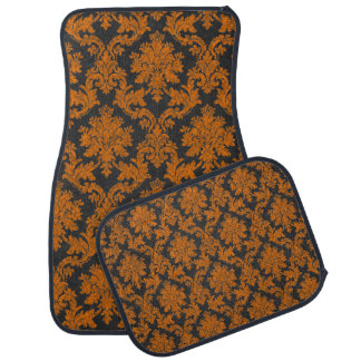 Halloween Orange Damask Chalkboard Pattern Car Mat