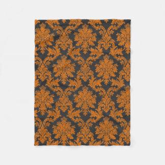 Halloween Orange Damask Chalkboard Pattern Fleece Blanket