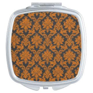 Halloween Orange Damask Chalkboard Pattern Makeup Mirrors