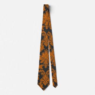 Halloween Orange Damask Chalkboard Pattern Tie
