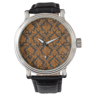 Halloween Orange Damask Chalkboard Pattern Watch