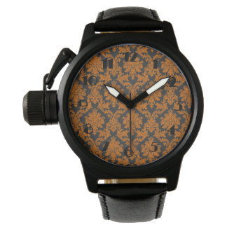 Halloween Orange Damask Chalkboard Pattern Watches