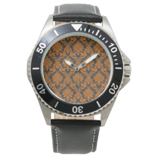 Halloween Orange Damask Chalkboard Pattern Wrist Watches
