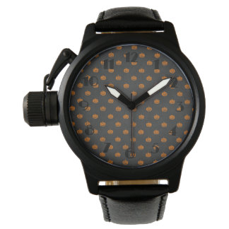 Halloween Orange Pumpkin Chalkboard Pattern Wristwatch