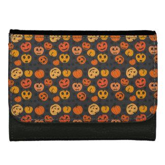 Halloween Orange Pumpkin Pattern Wallet For Women