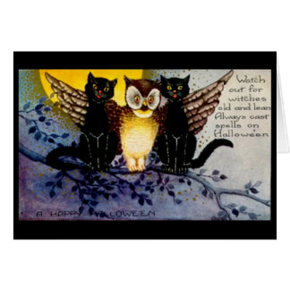 Halloween Owl and Black Cats Card