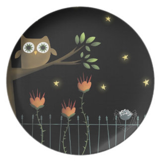 Halloween Owl and Spider at night dinner plate