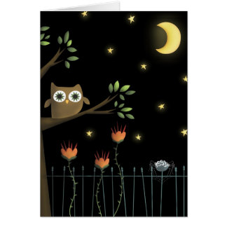 Halloween Owl and Spider at night Greeting Card