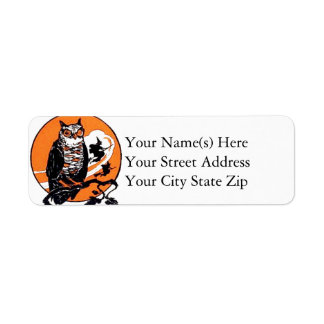 Halloween Owl and Witches Vintage Halloween Return Address Label