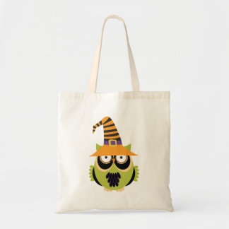 Halloween Owl in Witch's Hat Tote Bag