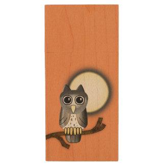 Halloween Owl Wood USB 2.0 Flash Drive