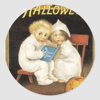 Halloween Painting of Children Reading Ghost Story Round Sticker