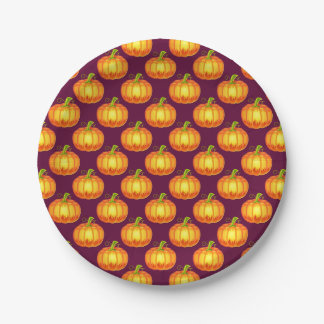 Halloween Paper Plate with Orange Pumpkins