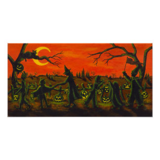 Halloween Parade,witch, clown,black cats Poster